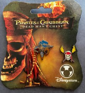 Pirates of the Caribbean - Dead Man's Chest Davy Jones and logo mini pin set Disney Store  pin
