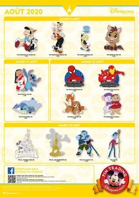 Disneyland Paris pin releases August 2020
