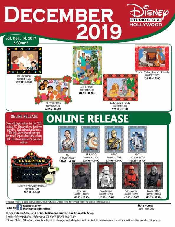 Disney Studio Store Hollywood December 2019 pin release flyer