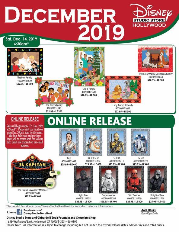 Disney Studio Store Hollywood December 2019 pin release flyer