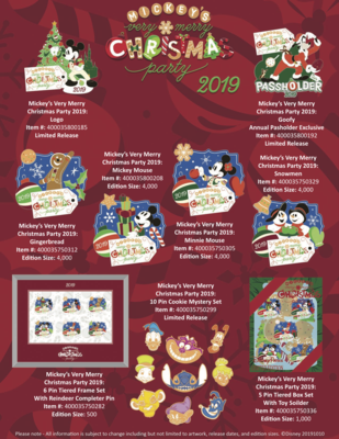 Mickey's Very Merry Christmas Party 2019 pin releases