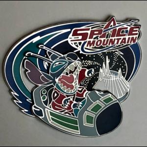 Stitch riding Space Mountain pin