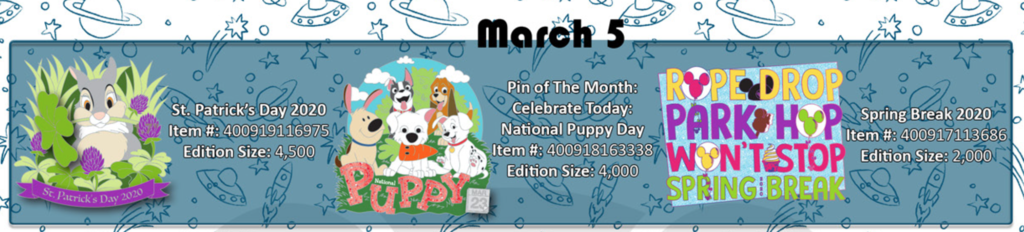 March 5th pin releases