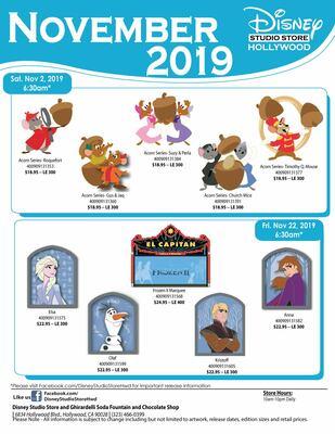 Disney Studio Store Hollywood November 2019 pin releases