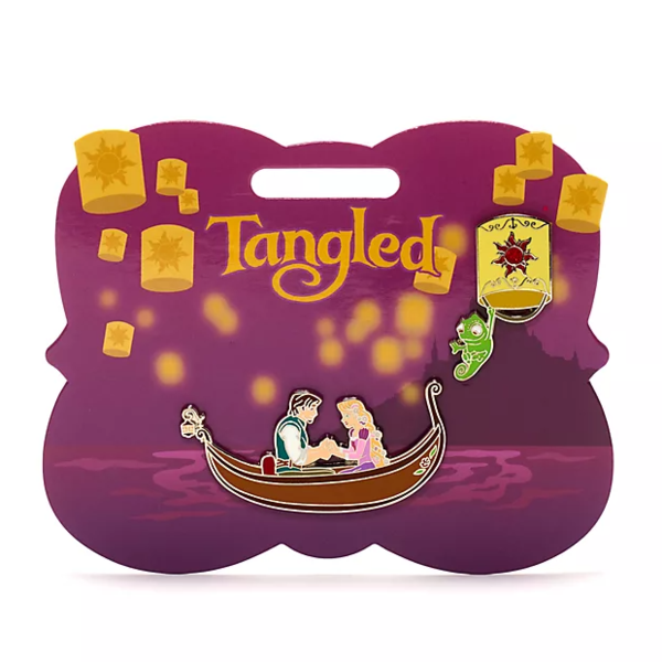 Rapunzel and Flynn in boat - Disney Store Tangled pin set