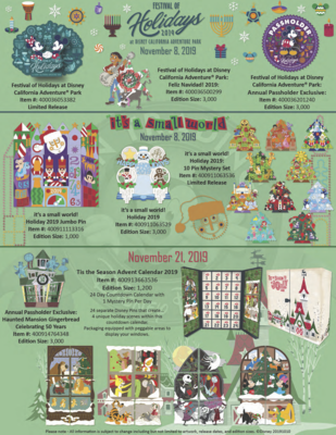 Disney California Adventure Festival of the Holidays pin releases 2019