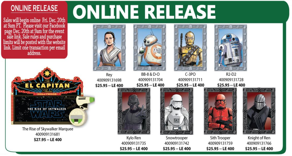 December 20th online pin releases