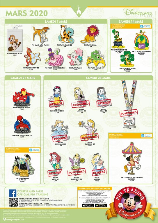 Disneyland Paris March 2020 pin releases
