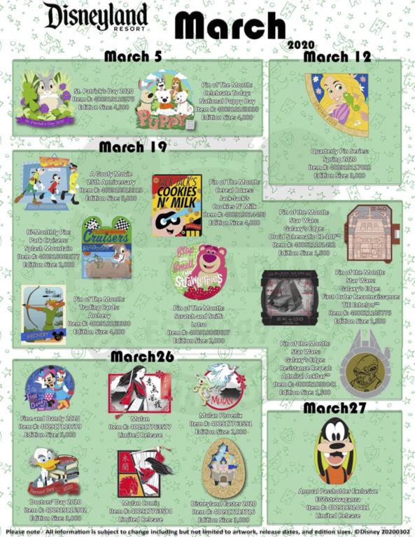 Disneyland Resort March 2020 pin release flyer