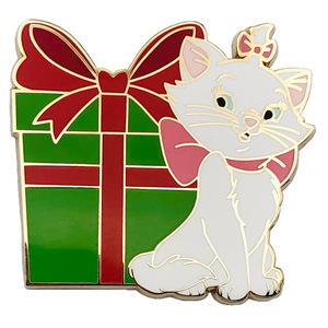 Marie with present - Only Happy Things pin