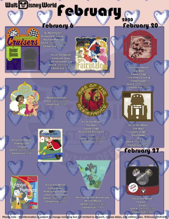 WDW February 2020 pin release flyer