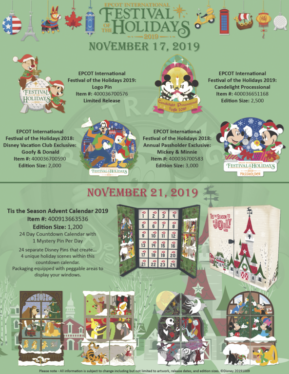 Epcot International Festival of the Holidays 2019 pin releases