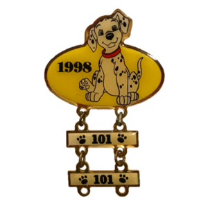 Disney Store 101 Dalmatian Award - 1998 Yellow Dangle pin