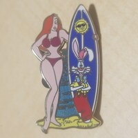 Jessica Rabbit with Roger Rabbit Surfboard pin