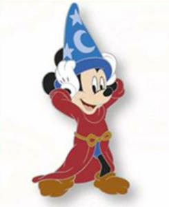 Sorcerer Mickey looking happy pin