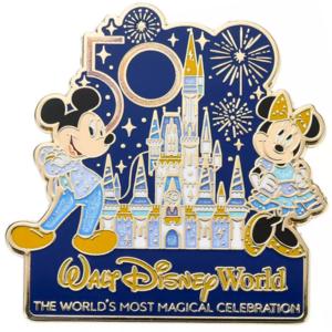 Minnie and Mickey with Cinderella Castle - Walt Disney World 50th Anniversary pin