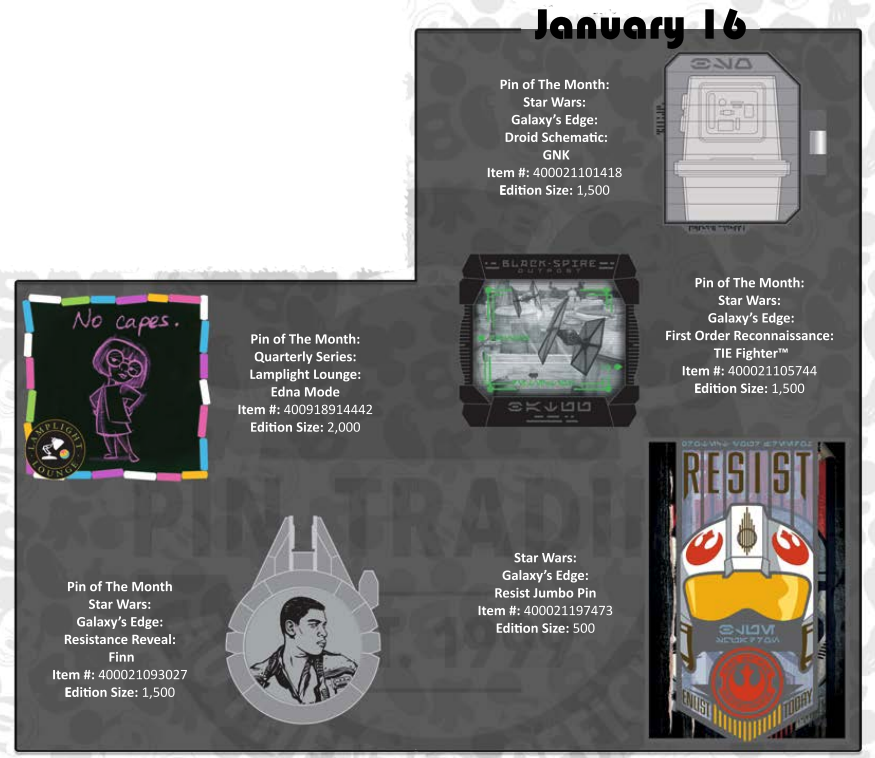 January 16th pin releases