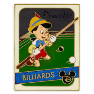 Pinocchio playing Billiards pin