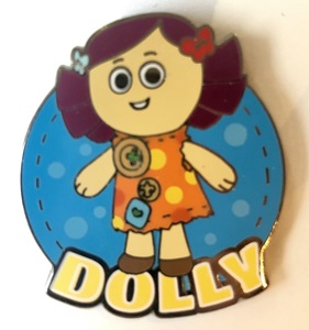 Dolly with her name pin