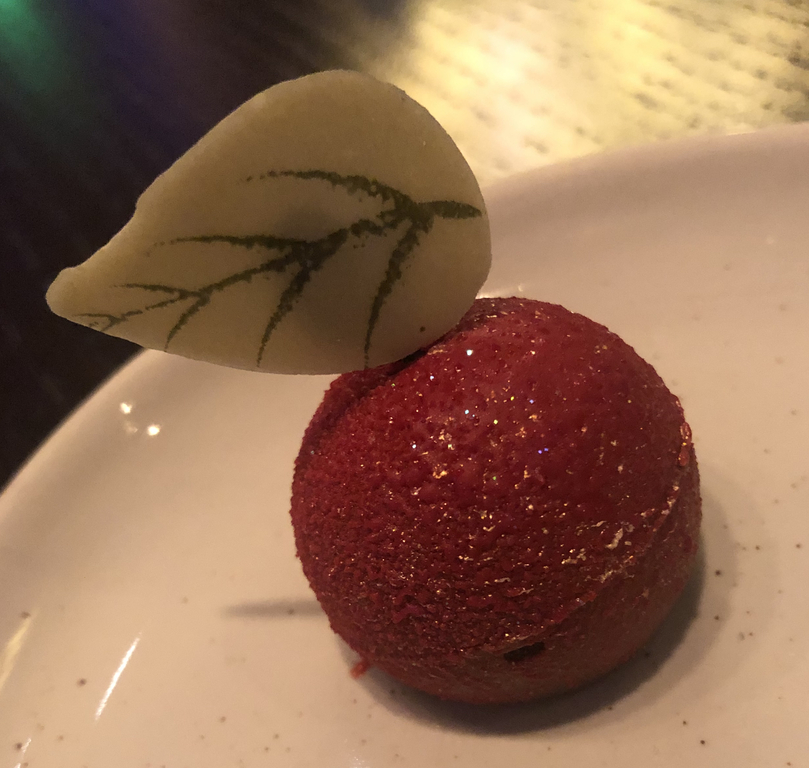 The cute little apple dessert from Story Book Dining