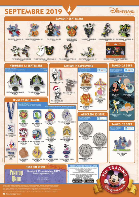 Disneyland Paris September 2019 pin release flyer
