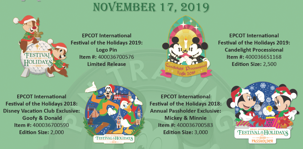 November 17th Epcot Holiday pin releases