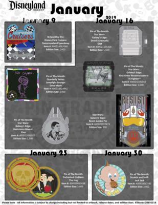 Disneyland January 2020 pin releases