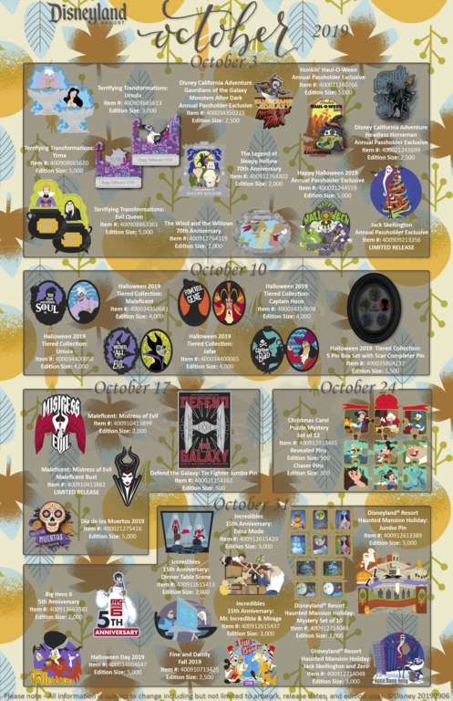 Disneyland Resort pin release flyer October 2019