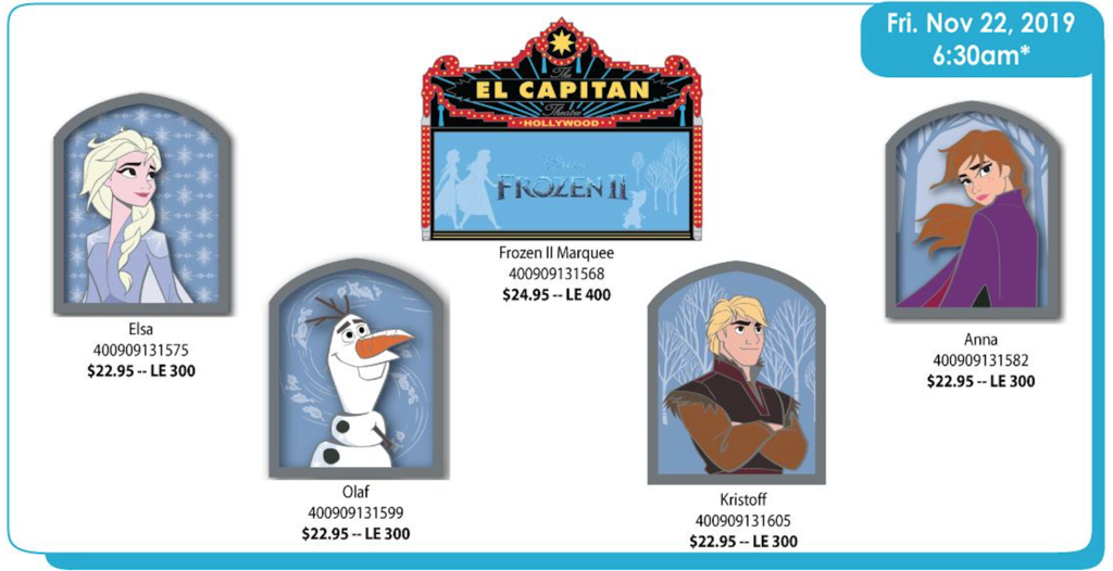 November 22nd pin releases - Frozen II series