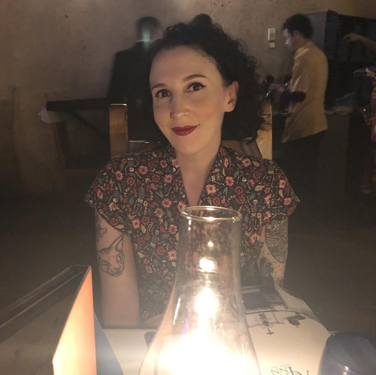 Eating by lamplight in San Angel Inn Restaurante