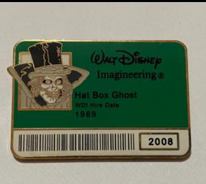 Hat Box Ghost ID Badge pin