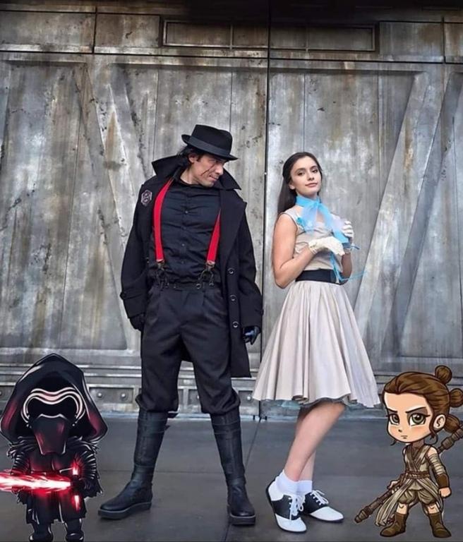 Kylo Ren & Rey from Star Wars.