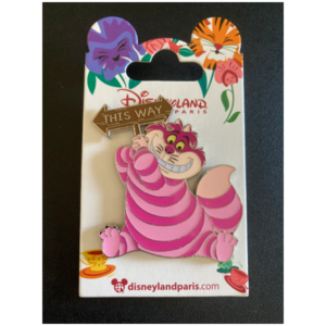 DLP - Cheshire Cat holding 'This Way' sign pin