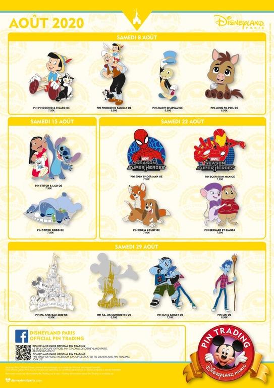 Disneyland Paris pin release flyer August 2020