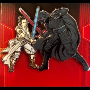 Rey and Kylo Ren fighting pin