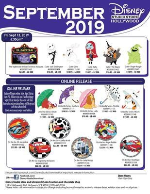 Disney Studio Store Hollywood September 2019 pin releases