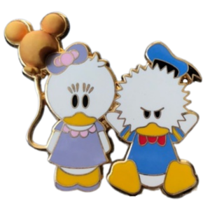 Angry Donald and Daisy with balloon pin