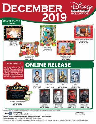 Disney Studio Store Hollywood December 2019 releases