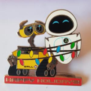 Wall-E and Eve Happy Holidays pin