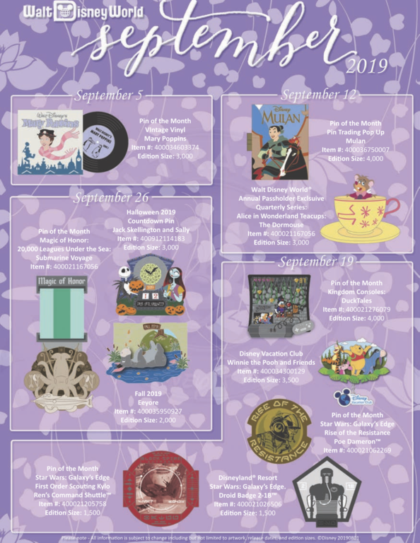 Walt Disney World's September pin releases flyer