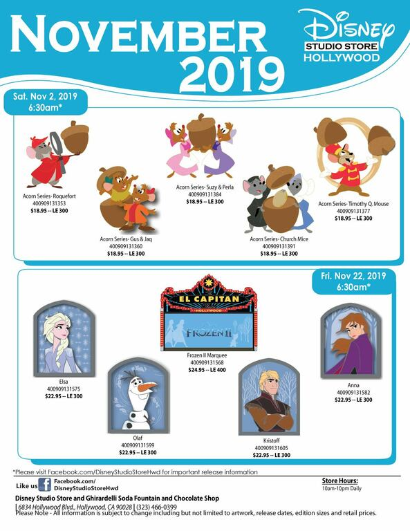 Disney Store Hollywood Studio November 2019 pin release flyer
