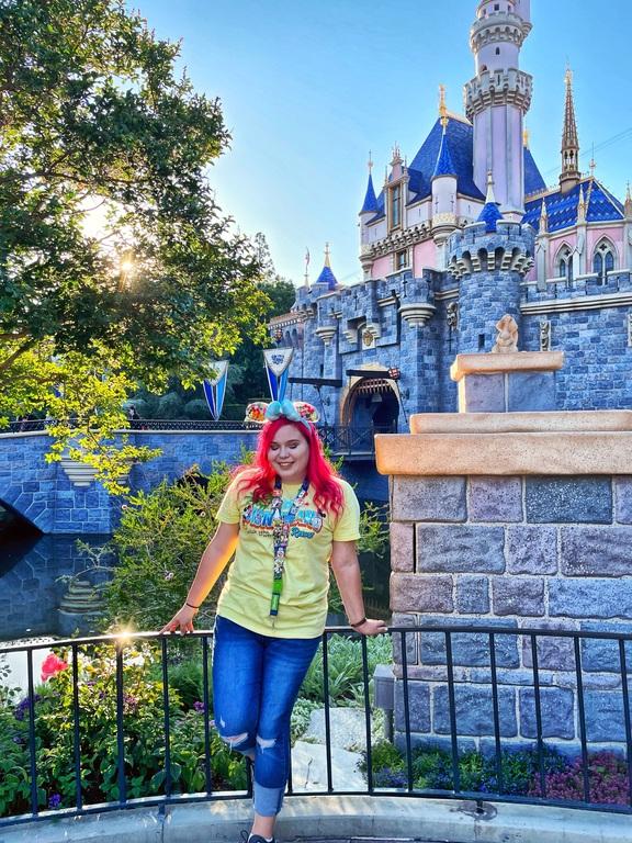 Daisy in front of Sleeping Beauty's castle
