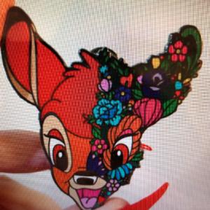 Bambi flower face pin