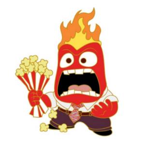 Anger squashing popcorn bag pin