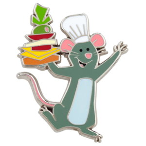 Remy with stack of food - Remy's Ratatouille Adventure pin