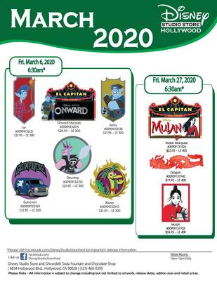 March 2020 Disney Studio Store Hollywood pin releases