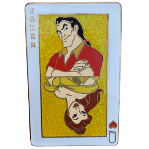 Belle and Gaston playing card pin