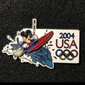 USA 2004 Olympic logo cast member exclusive Mickey Kayak pin