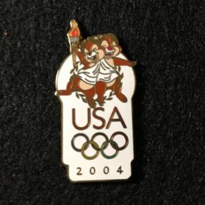 USA 2004 Olympic logo Chip & Dale pin