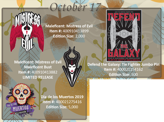 October 17th pin releases